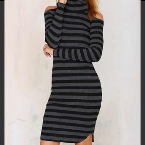 Nasty Gal Grey and Black Striped Turtleneck Dress